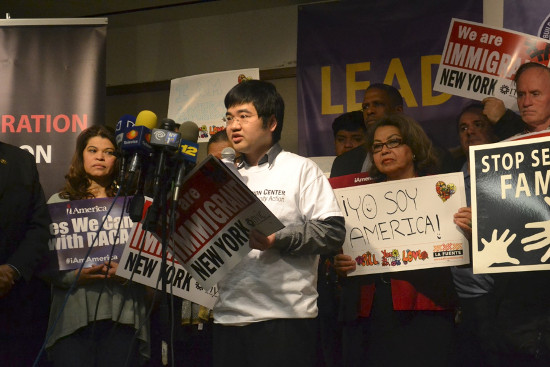 Jong-Min at a rally in February, 2015 after the delay on DACA+ and DAPA was put into effect. Photo courtesy of New York Immigration Coalition