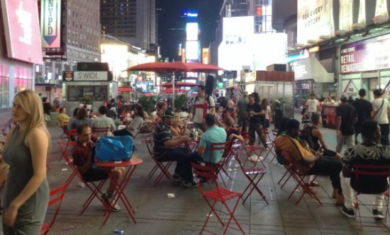 The pedestrian plazas at Times Square take over many road curbs where vendors used to be allowed to set up their stands.