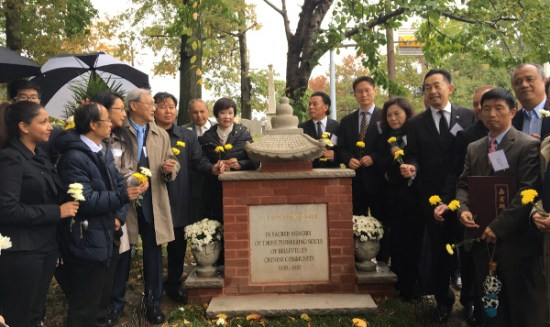 Flowers for the pioneers of the first East Coast Chinatown