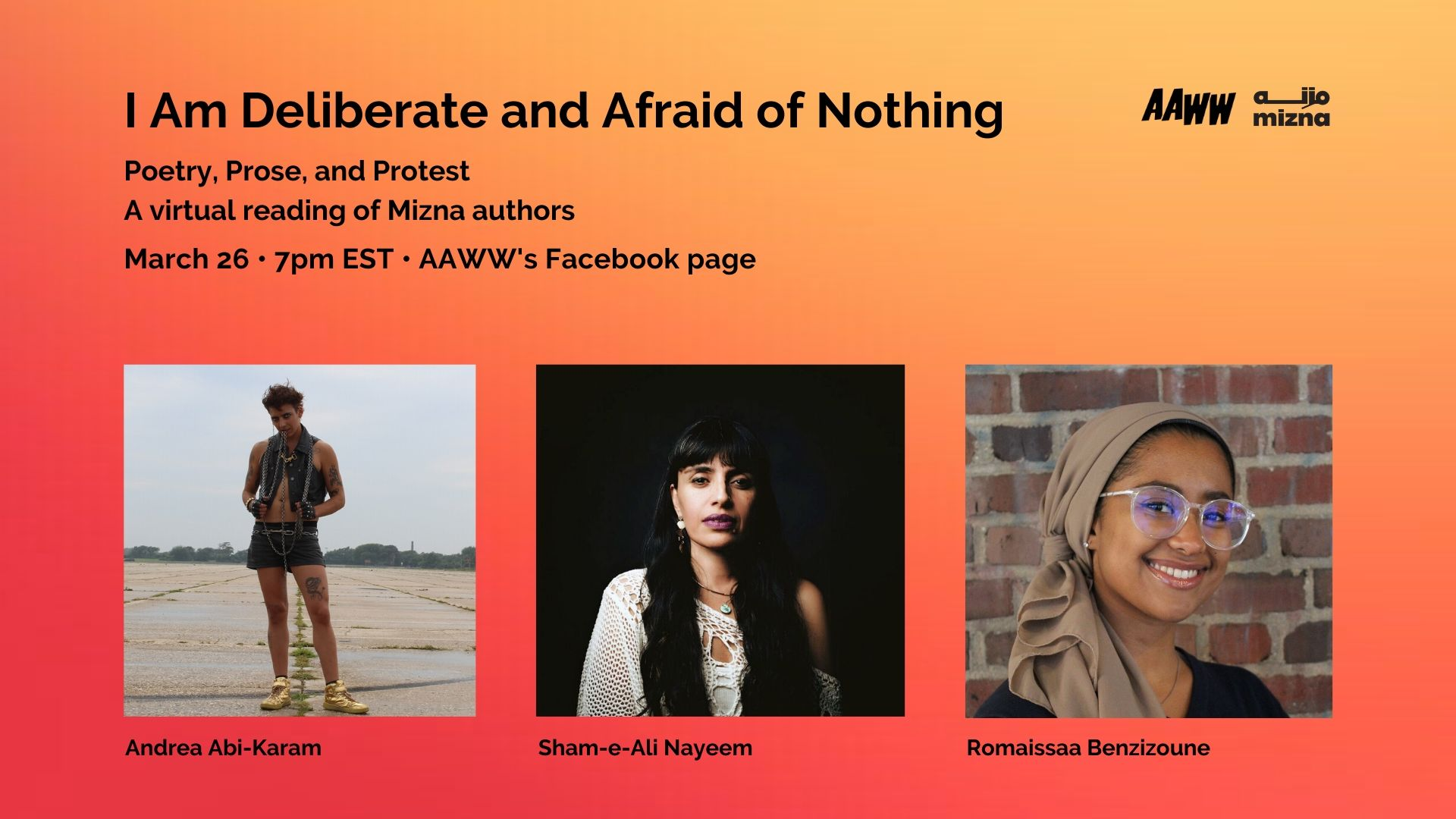 VIRTUAL EVENT: I Am Deliberate and Afraid of Nothing: Poetry, Prose, and Protest