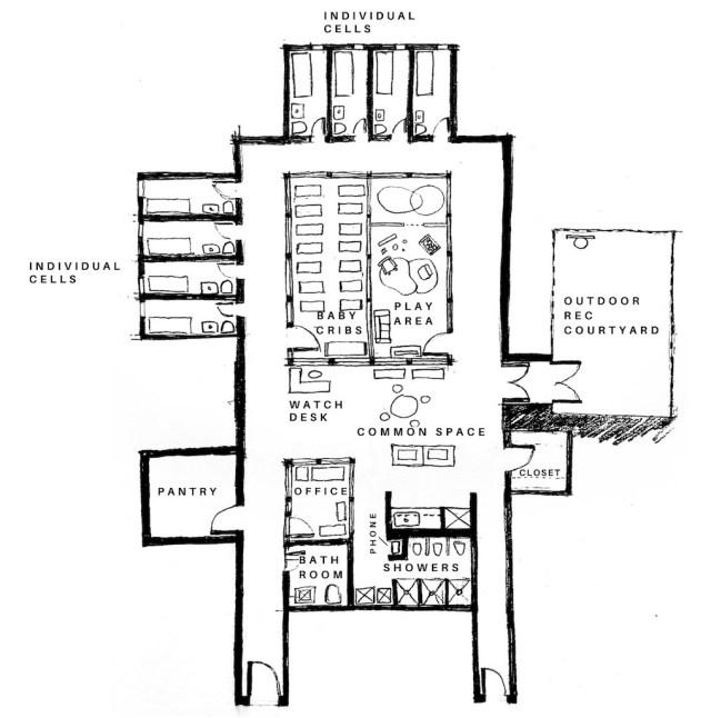 [Image Description: floor plan of a nursery in a jail/prison]