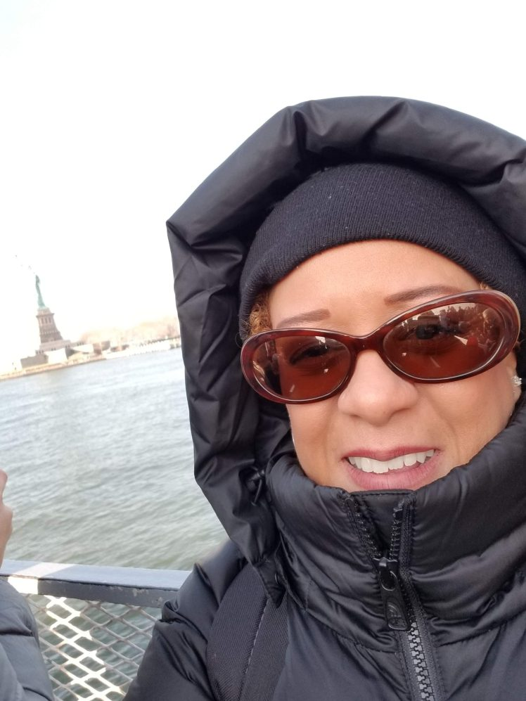 Me on the boat to the Statue of Liberty 2018