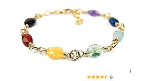 DAMALI 14K Gold 7 Chakra Crystal Healing Bracelet