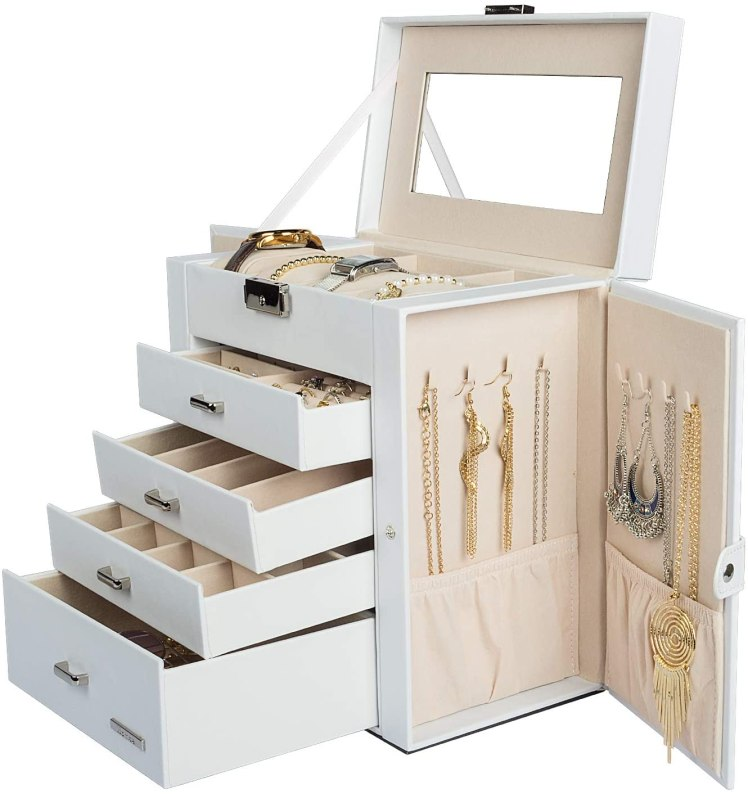 Homde Synthetic Leather Mirrored Jewelry Box