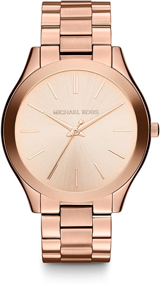 Michael Kors Slim Three-Hand Quartz Watch Rose Gold