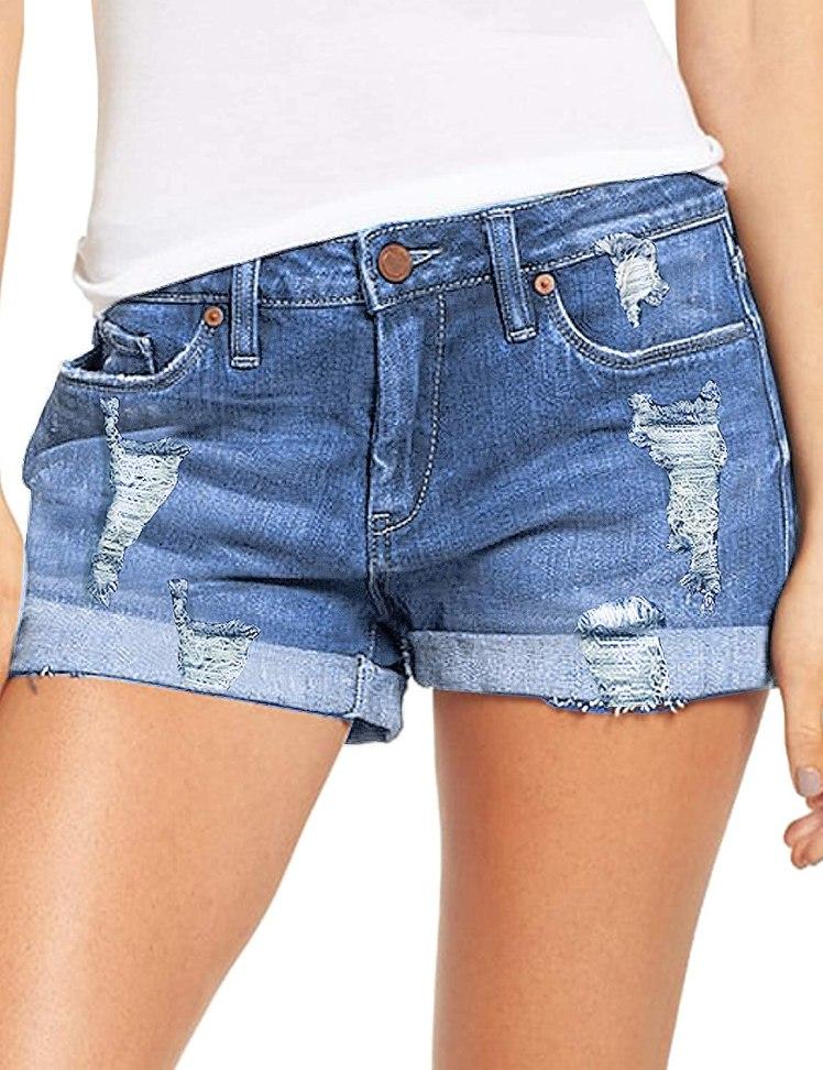 luvamia Women's Ripped Denim Jean Shorts Mid Rise Stretchy Folded Hem Short Jeans BLUE