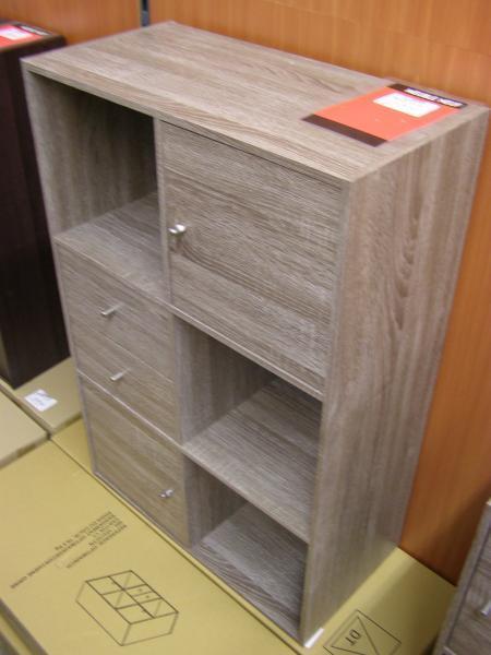 depot vente ab troc meuble chene gris 6 cases dont 2 portes et 2 tiroirs 60x90 neuf