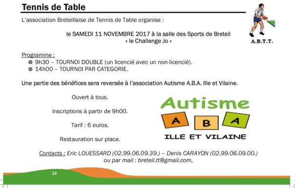 Actualit s autisme aba ille et vilaine - Comite d ille et vilaine de tennis de table ...
