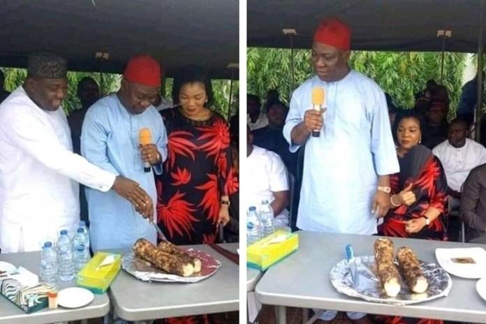 Ike Ekweremadu Finally Eats Local Yam In Enugu