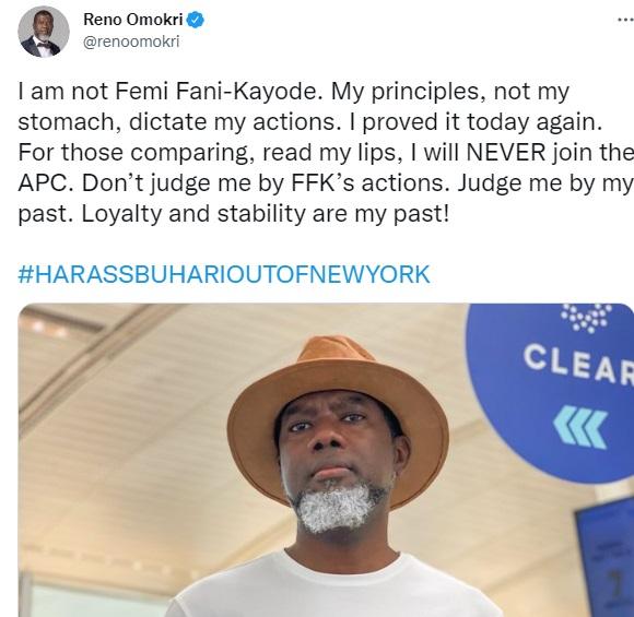 I am not Fani-Kayode, I will NEVER join APC - Reno Omokri tells his followers