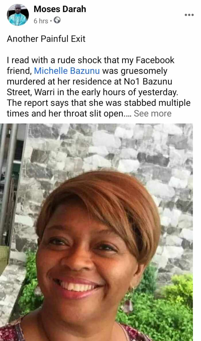 Businesswoman Found Dead With Slit Throat, Multiple Stab Wounds In Delta