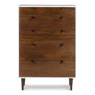Envelo White Walnut 5 Drawer Dresser front