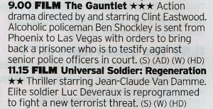 ITV4 - An interesting double bill here, with one of Eastwoods best forgotten films followed by the Bourne-ification of Universal Soldier