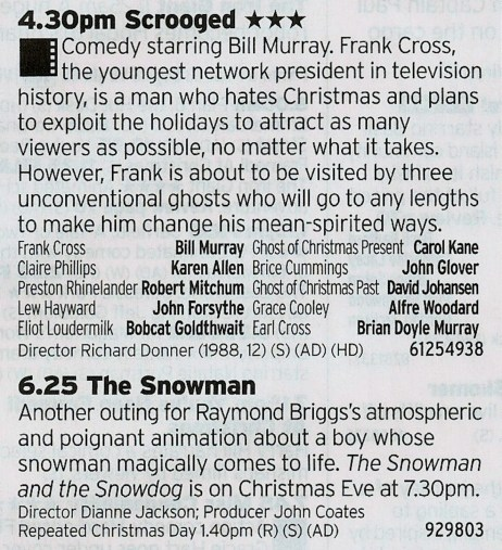 1630 C4 - Here it is; the best Christmas film that isn't Die Hard. And once you've watched that you can follow it up with The Snowman. That's good right?