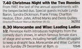 1940 BBC2 - Christmas needs Morecambe and Wise like a diabetic needs insulin so here is your dosage for the day