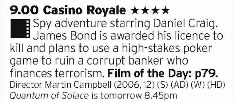 2100 - ITV2 - The start of Craig's Bond was off to a flying start and proved he really was born for the role