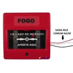 Botoeira e Acionador Manual Convencional com relé NA/NF (Convencional Call Point with relay NO/NC) código AFAM2R. Ideal para Módulo de Entrada Endereçável. Imagem 02