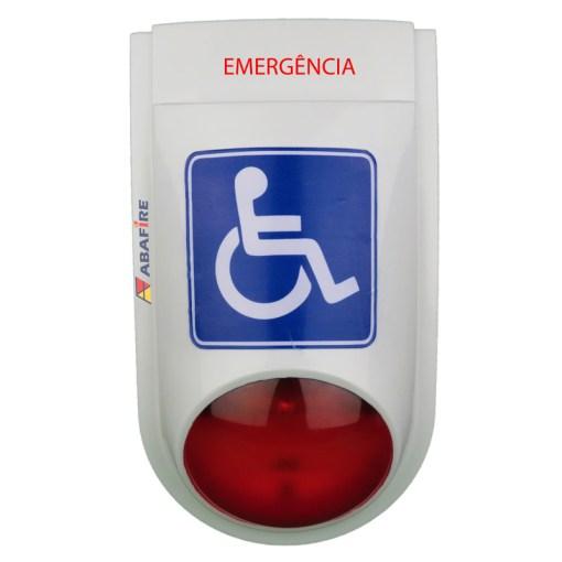 Sirene Audiovisual de Emergência e Alarme para Sanitários PNE (Portadores de Necessidades Especiais) Tipo Cabeado - Imagem 01