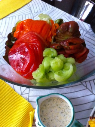 A quick salad with the Black Russian, the Zieglers, one of the sweet peppers, a few chopped Chard leaves, and a cucumber (from my FIL's garden) with a yogurt dressing.