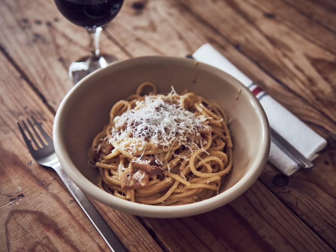 Espaguetis carbonara sous vide a baja temperatura