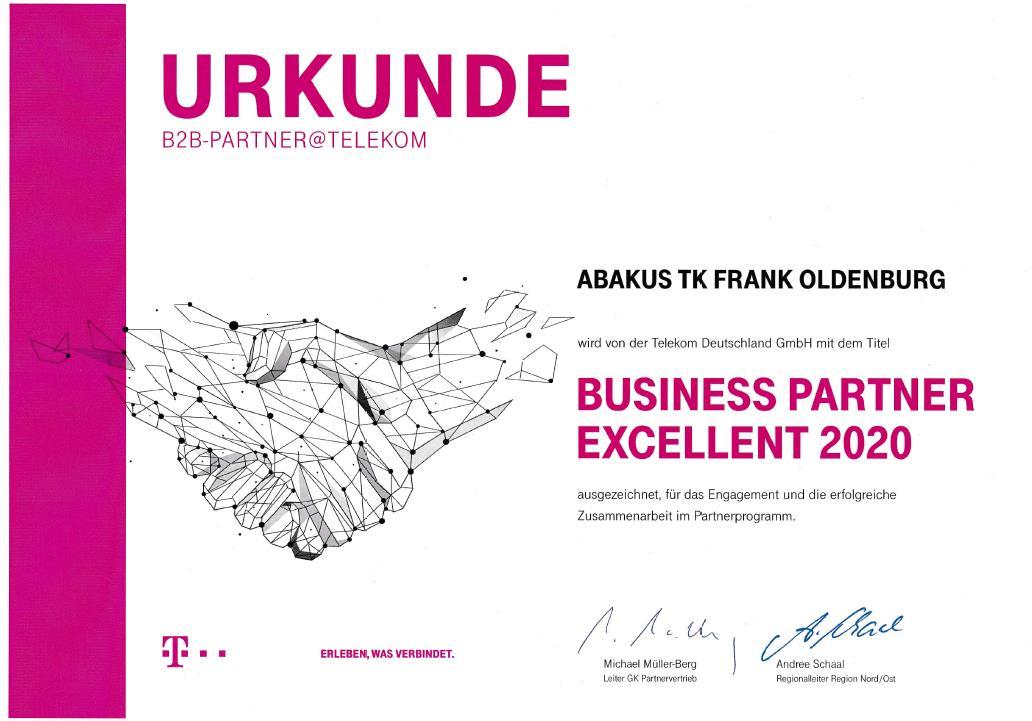 Telekom Urkunde Business Partner Excellent