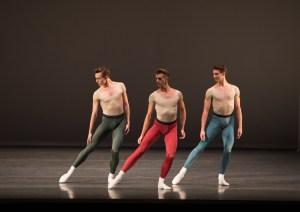 Slattery (center) in Jerome Robbins' Glass Pieces. Rosalie O'Connor, Courtesy Boston Ballet.