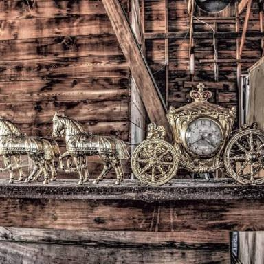 Elaborate clock, seen in an abandoned Catskills farmhouse Photo by Forsaken Photography