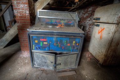 Jukebox, seen in an abandoned home for the aged, Dutchess County NY Photo by Andy Milford