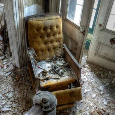Take a seat, if you dare! Recliner seen in an abandoned mansion, Catskill NY. Photo by Andy Milford