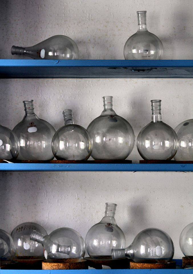 Beakers, seen in an abandoned laboratory Photo by Michael Bowman