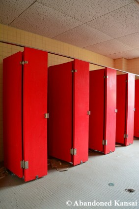 Red Bathroom Stalls
