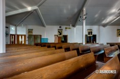 Pews at the Guardian Angel Chapel