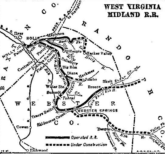 West Virginia Midland System Map