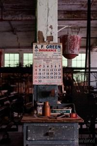 Vintage Calendar and Fire Bucket