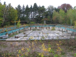Abandoned and empty olympic sized outdoor pool