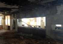 Trashed cafeteria and dining area