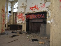 Red brick fireplace at rear of abandoned Greenpoint Hospital building