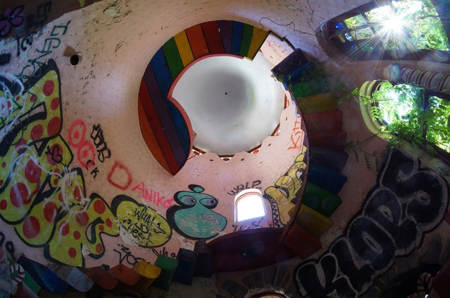Rainbow stairs spiraling upward to a platform inside the top of the castle
