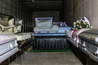 The wing used as to display Booth's wholesale caskets.