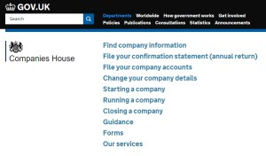 The Companies House website, where you'll initially register your Company.