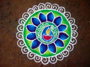 Author: Pon Malar via Wikipedia Commons Rangoli made for Diwali