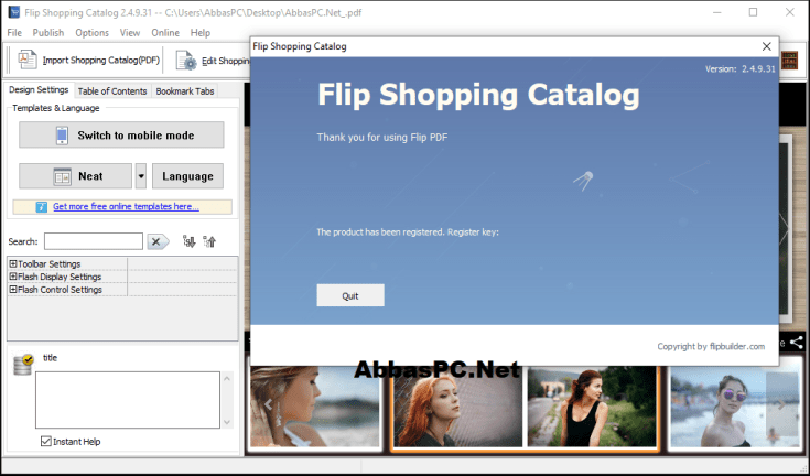 Flip Shopping Catalog Register Key