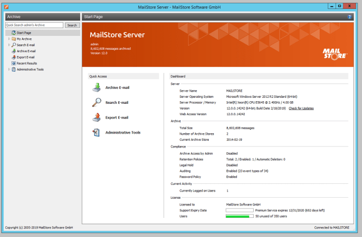 MailStore Server Registered for Windows