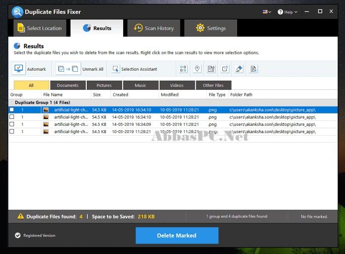 Duplicate Files Fixer Full Version Interface