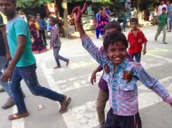 People celebrating the god Ganesha's birthday on September 23, Agra