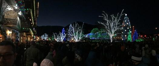 Leavenworth Christmas lighting photo panoramic