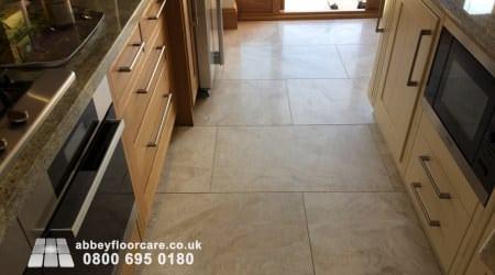 Honed marble floor