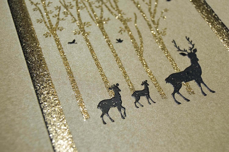 deer forest blended glitter card