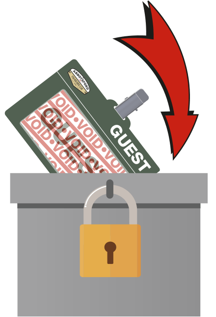 Place Guest Pass in Lockbox upon Exiting