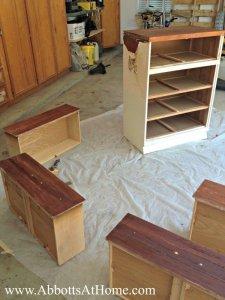 DIY furniture remodel - cutting dresser in half to make vanity and toy storage